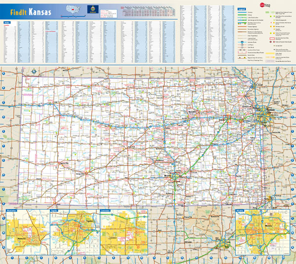Large detailed roads and highways map of Kansas state with all cities and villages.