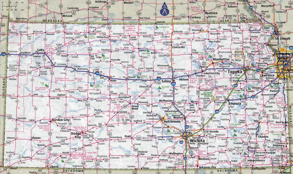 Large detailed roads and highways map of Kansas state with cities.