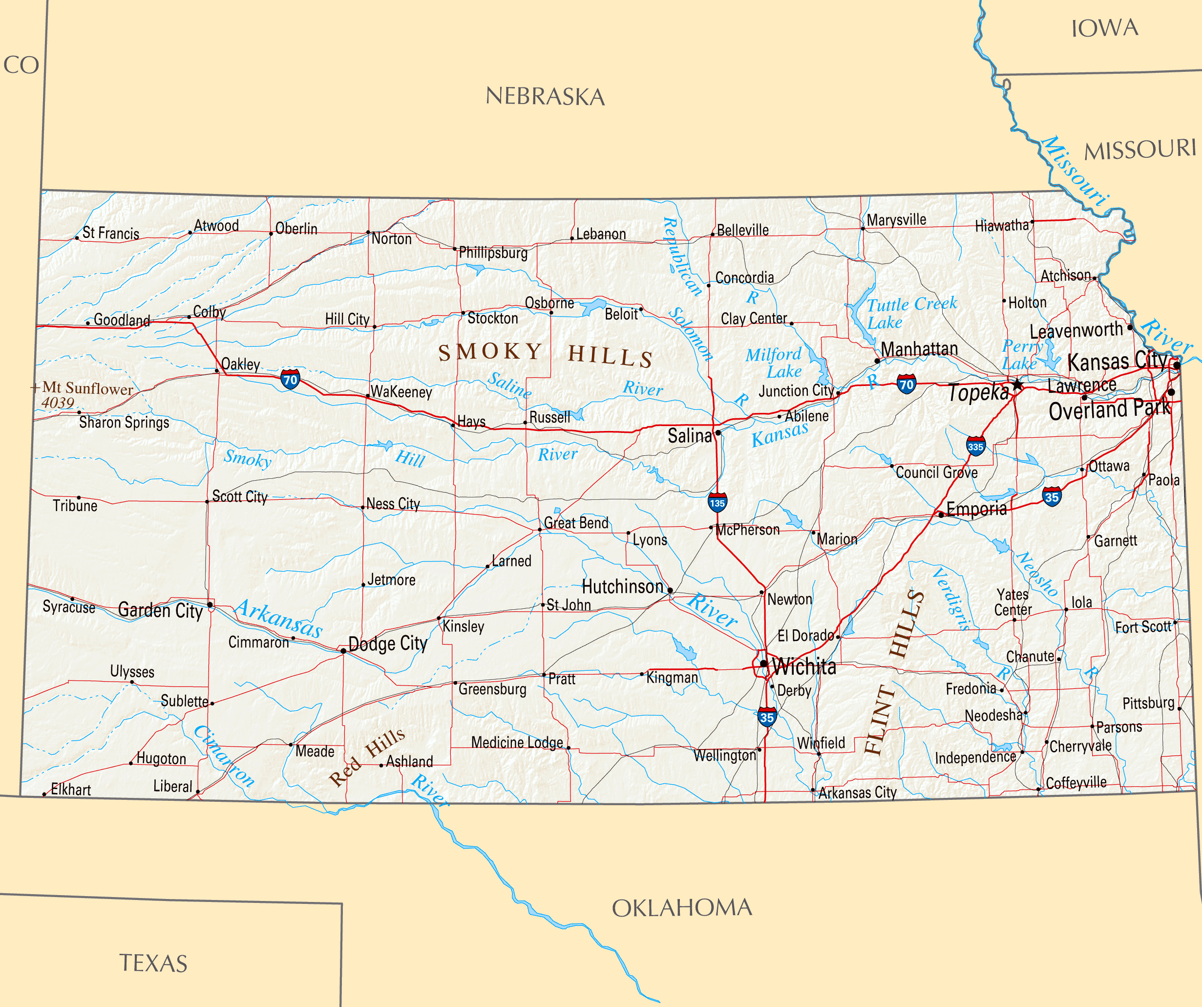 Large Highways Map Of Kansas State With Relief And Major