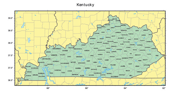 Detailed administrative map of Kentucky state.