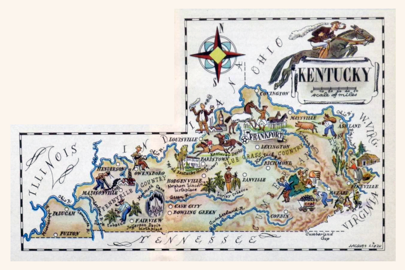 Detailed Old Illustrated Tourist Map Of Kentucky State - Maps of kentucky