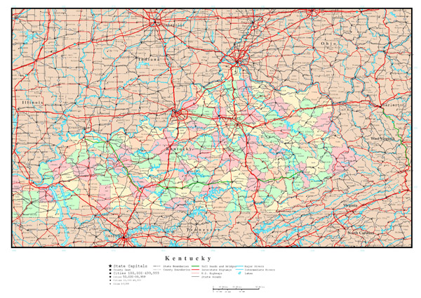 Large administrative map of Kentucky state with highways and all cities.