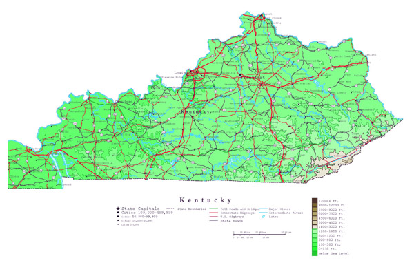 Large detailed elevation map of Kentucky state with roads and cities.