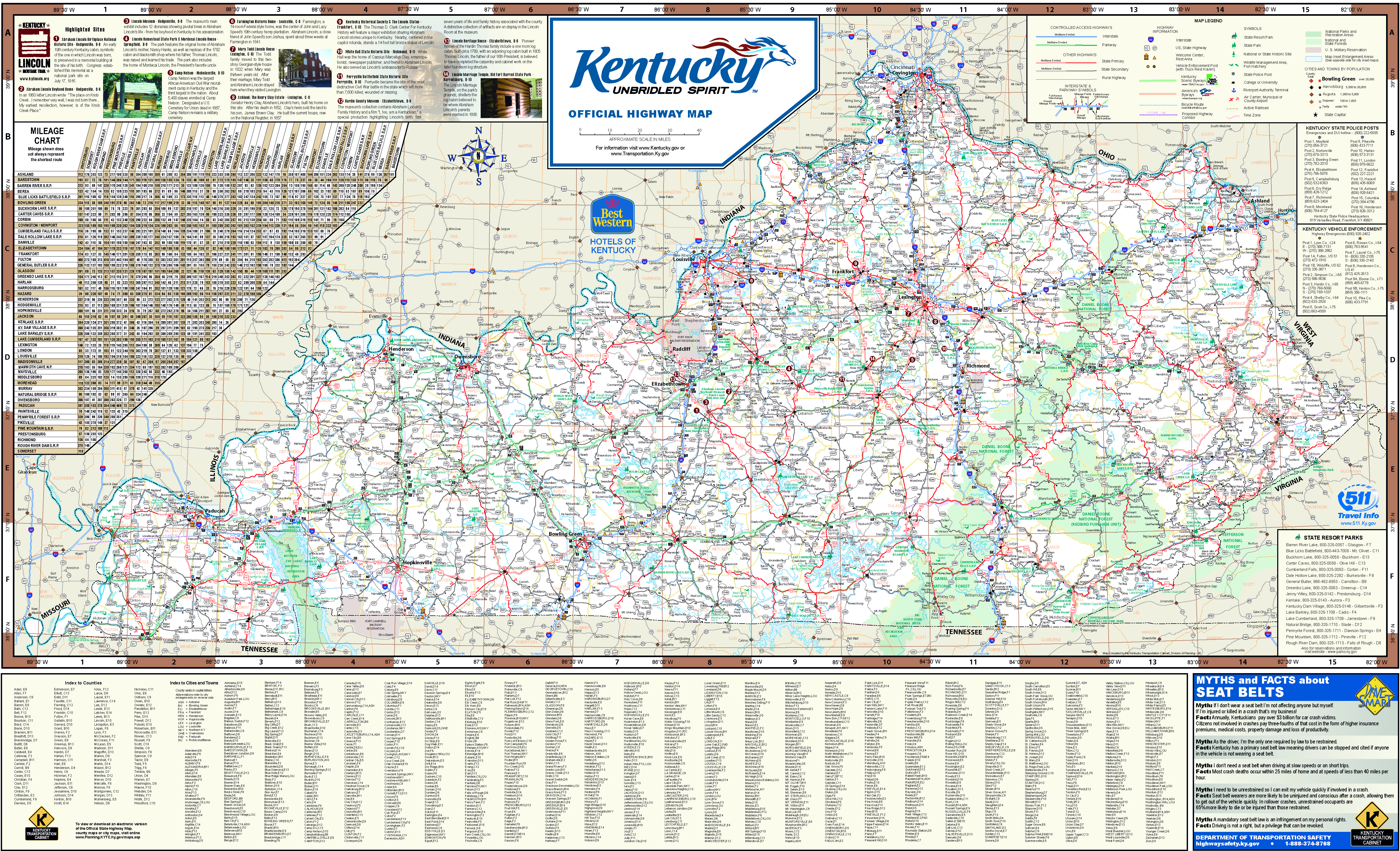 Large Detailed Highways Map Of Kentucky State With All Cities And - Map of kentucky state