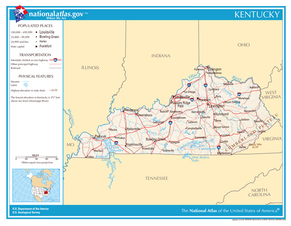 Large detailed map of Kentucky state. Kentucky state large detailed map.