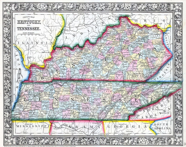 Large detailed old administrative map of Kentucky and Tennessee - 1862.