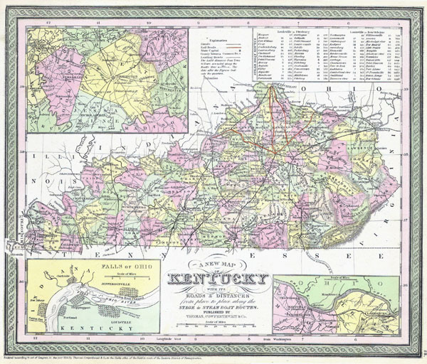 Large detailed old administrative map of Kentucky state - 1850.