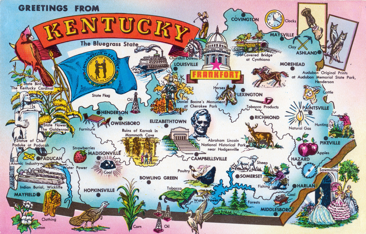 Large tourist illustrated map of Kentucky state. Kentucky state ...