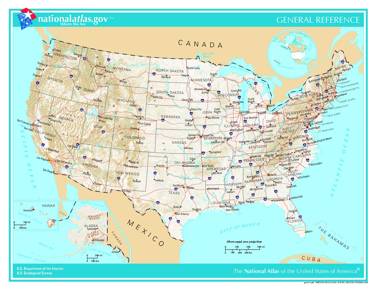 Large administrative and topographical map of the USA. The USA