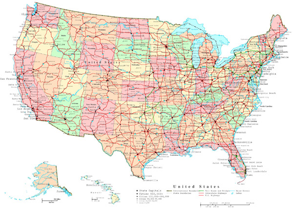 Large detailed administrative and road map of the USA.