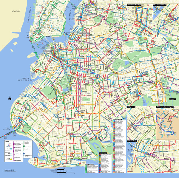 Large detailed Brooklyn bus map NYC (New York city).