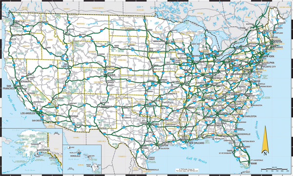 Large detailed highways map of the US.