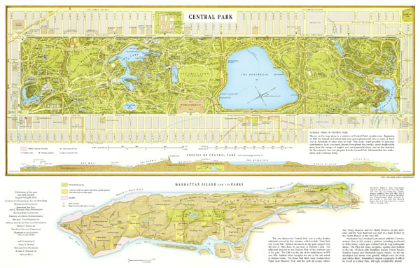 Large detailed map of Central Park, Manhattan, NYC.