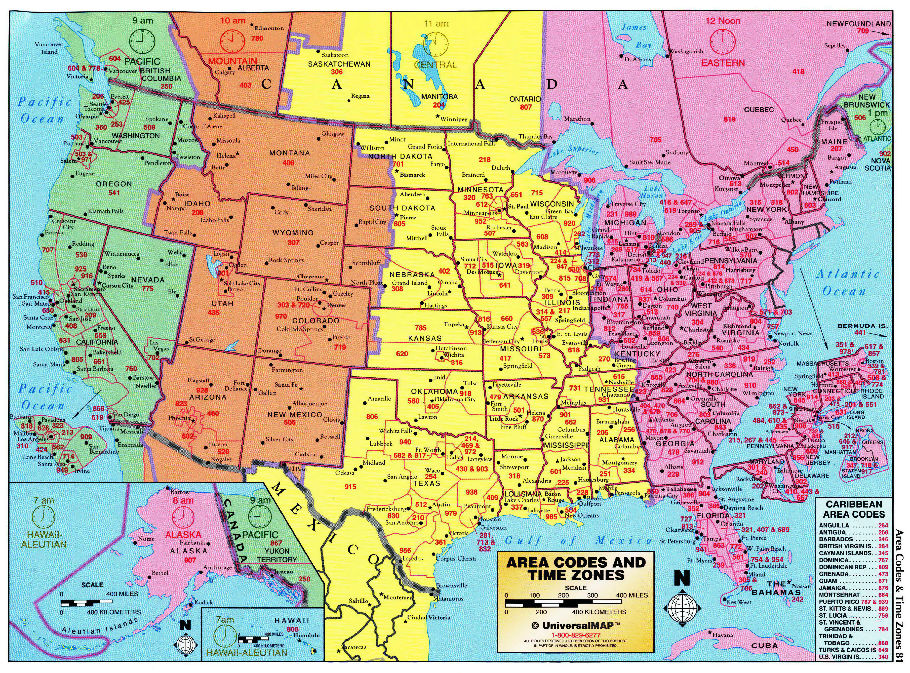 Large Detailed Map Of Area Codes And Time Zones Of The USA The - Detailed map of us