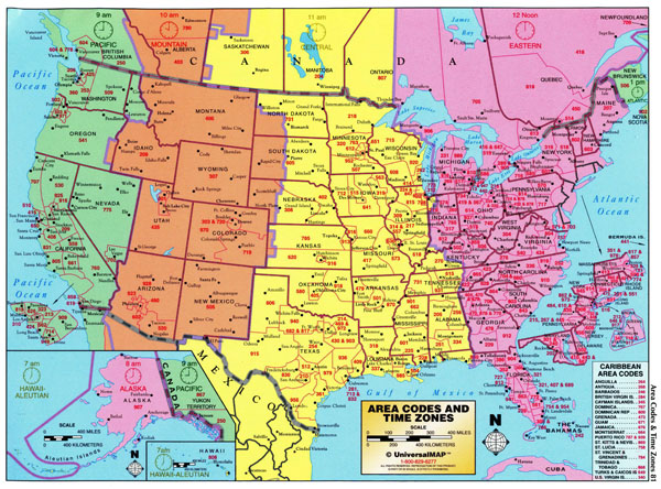 Large detailed map of area codes and time zones of the USA.