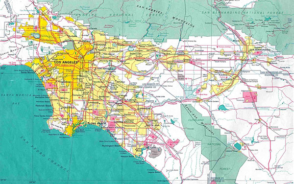 Large detailed map of Los Angeles city.