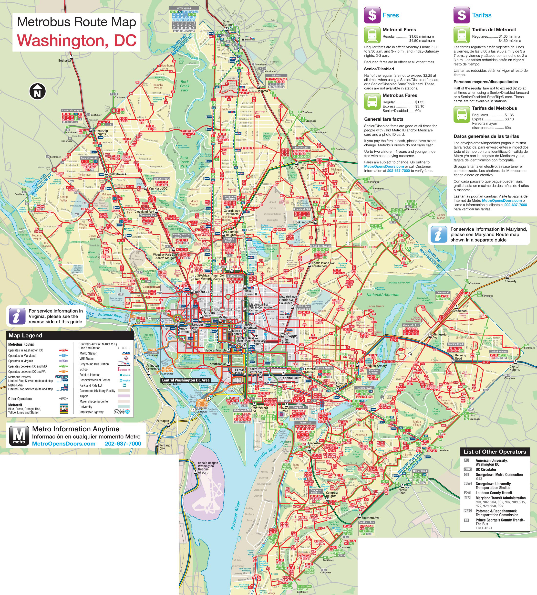 Large Detailed Metro And Bus Map Of Washington D C Washington D C