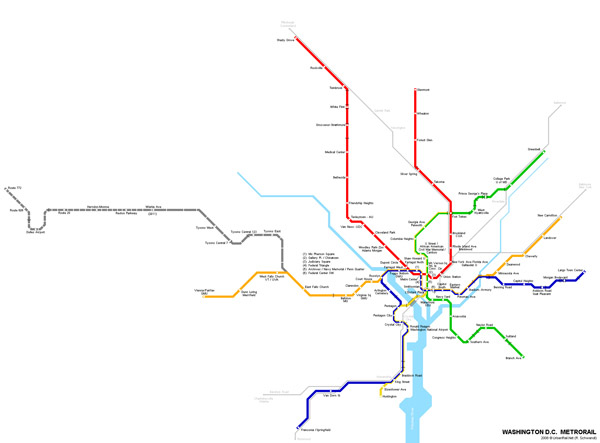 Large detailed metro map of Washington D.C..