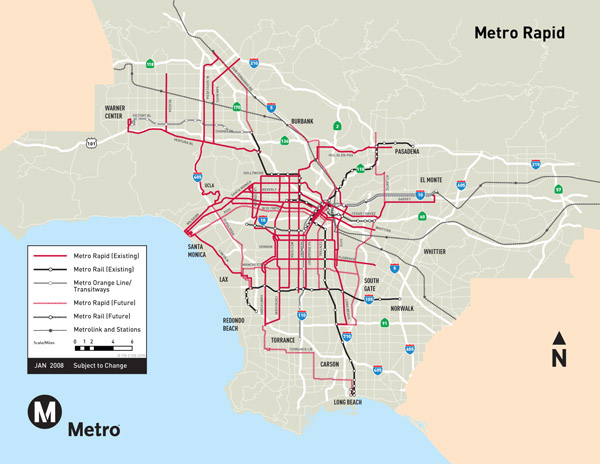 Large detailed subway system map of Los Angeles city.