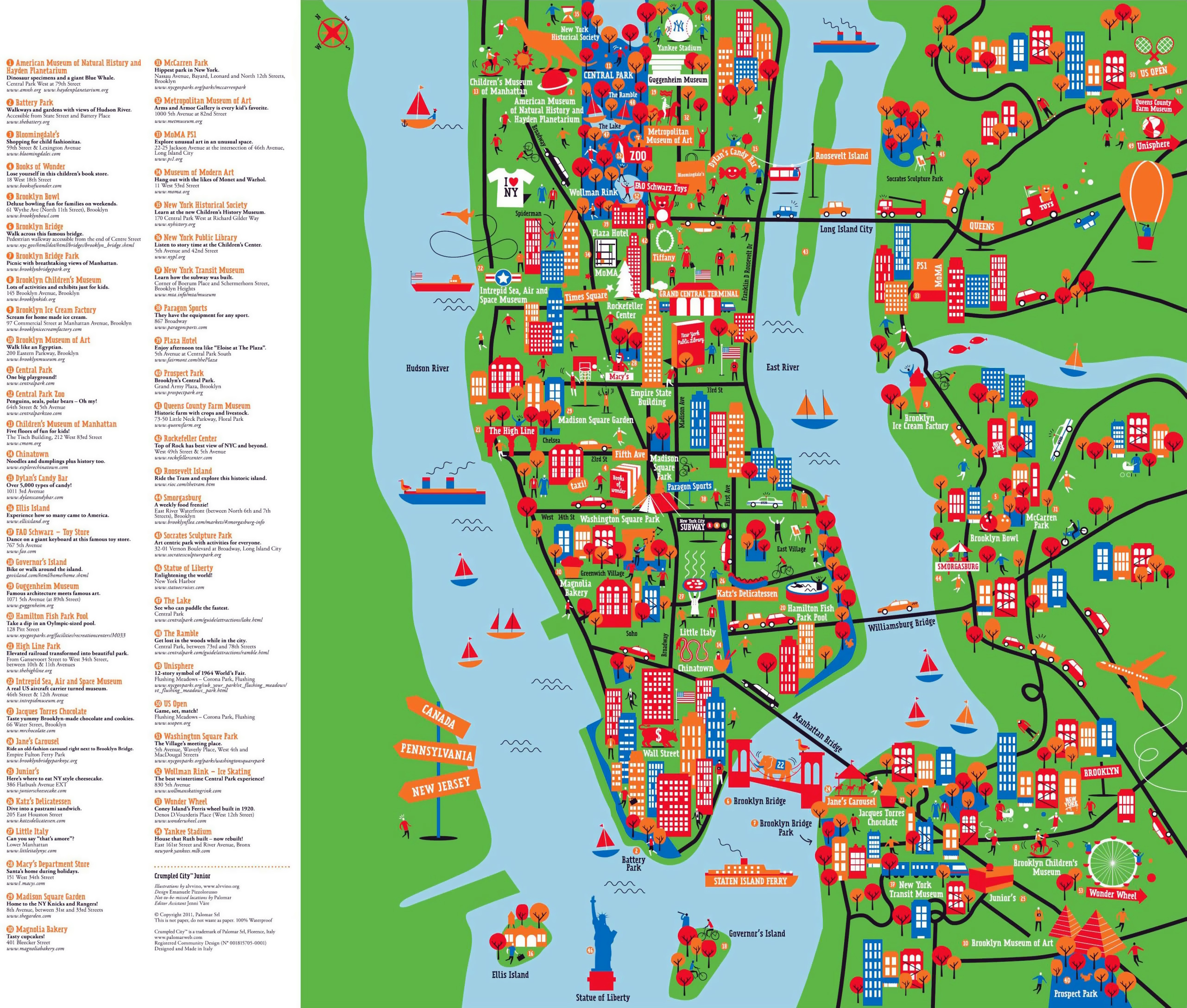 Large detailed New York tourist attractions map New York city – Tourist Attractions New York City