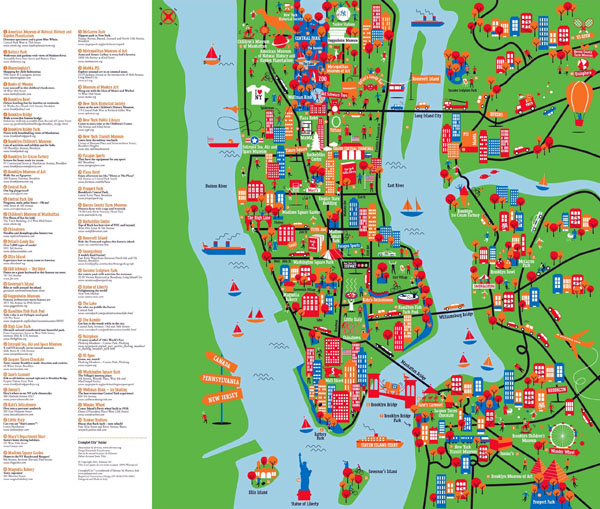 Large detailed New York tourist attractions map.