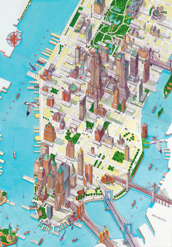 Large detailed panoramic drawing map of lower Manhattan NY city (New York city).