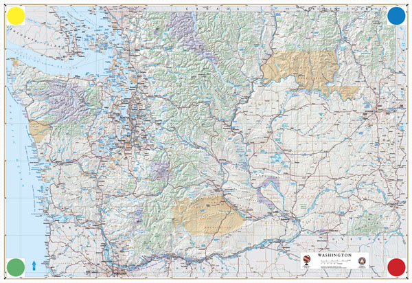 Large detailed physical and road map of Washington.