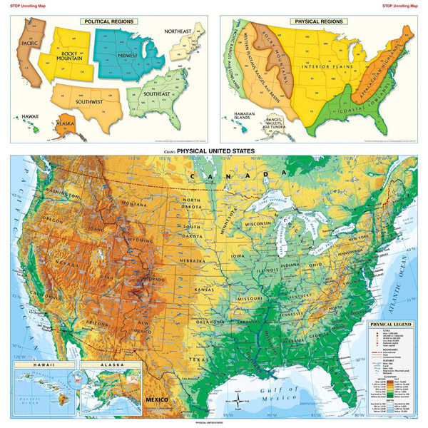 Large detailed physical map of the USA.