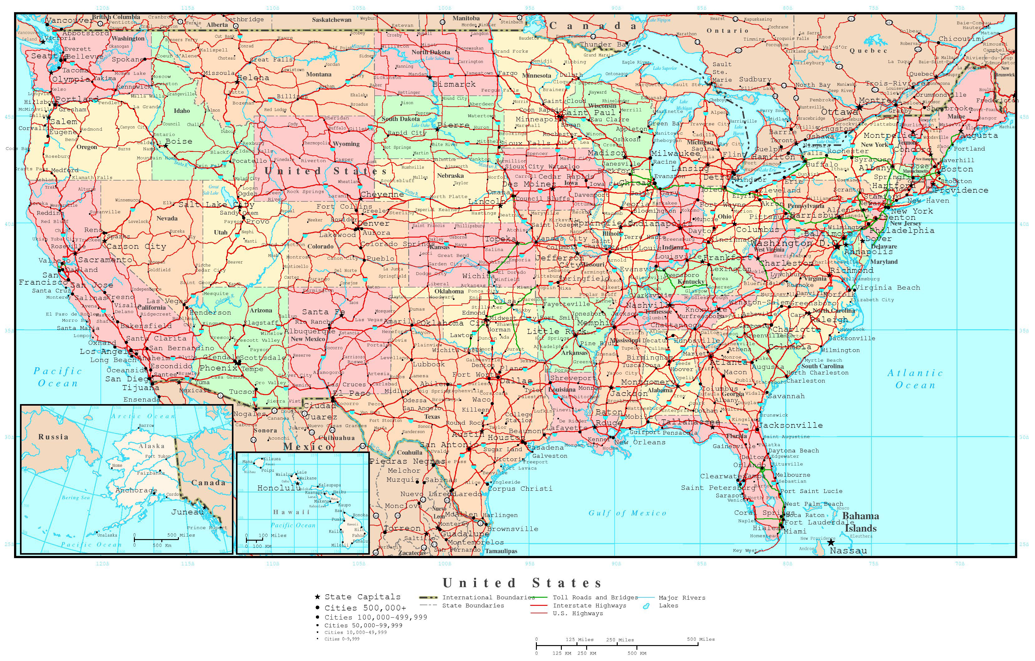 Large detailed political and road map of the USA. The USA large