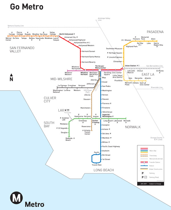 Large detailed railway system map of Los Angeles.