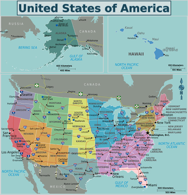 Large detailed regions map of the USA.