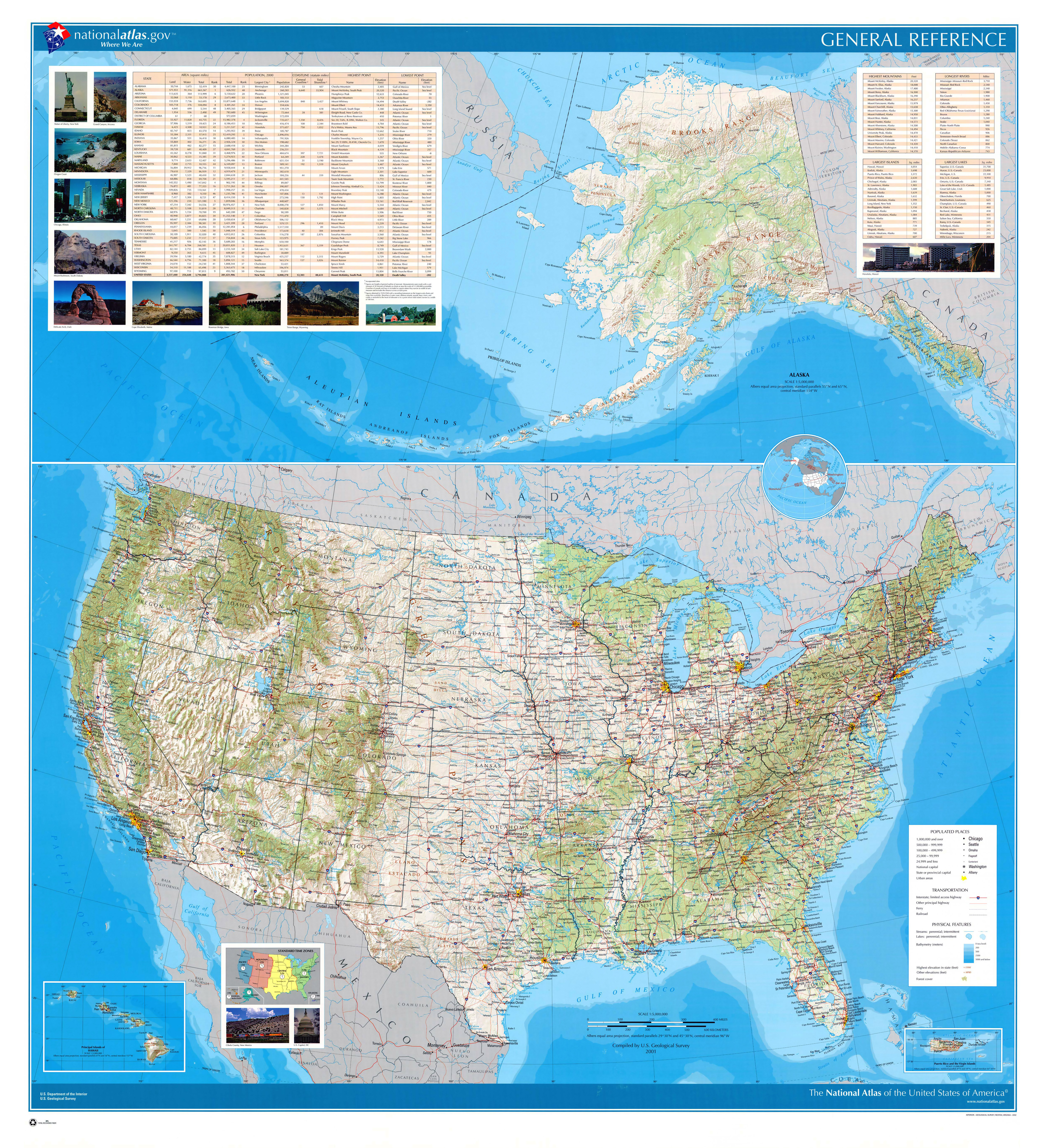 Large Detailed Relief Administrative And Political Map Of The USA - Usa political map