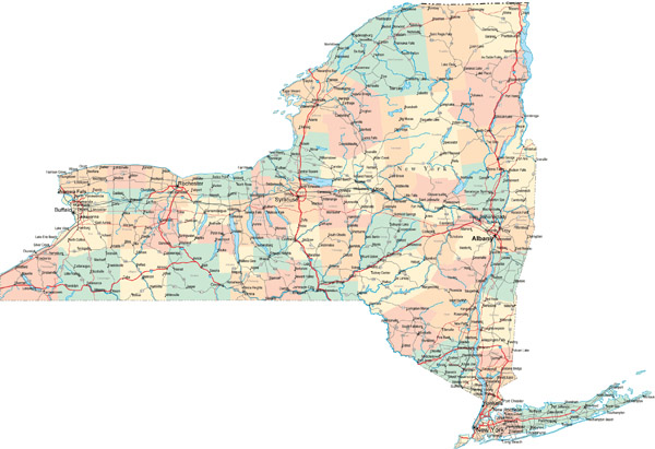 Large detailed road and administrative map of New York State.