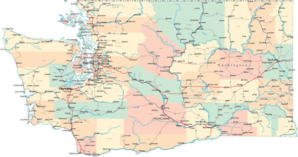 Large detailed road and administrative map of Washington.