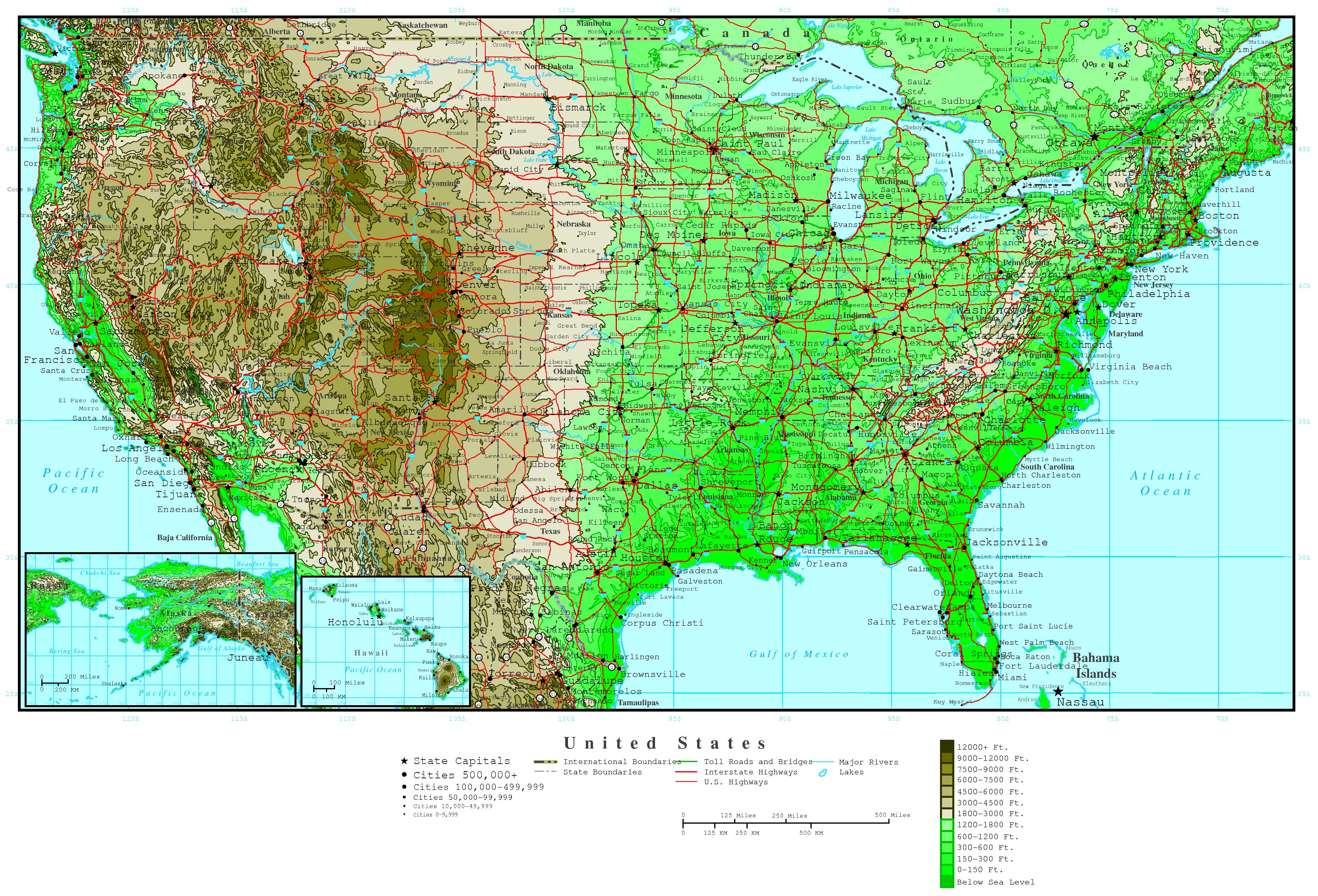 Large detailed road and elevation map of the USA. The USA large
