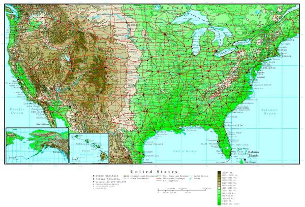 Large detailed road and elevation map of the USA.