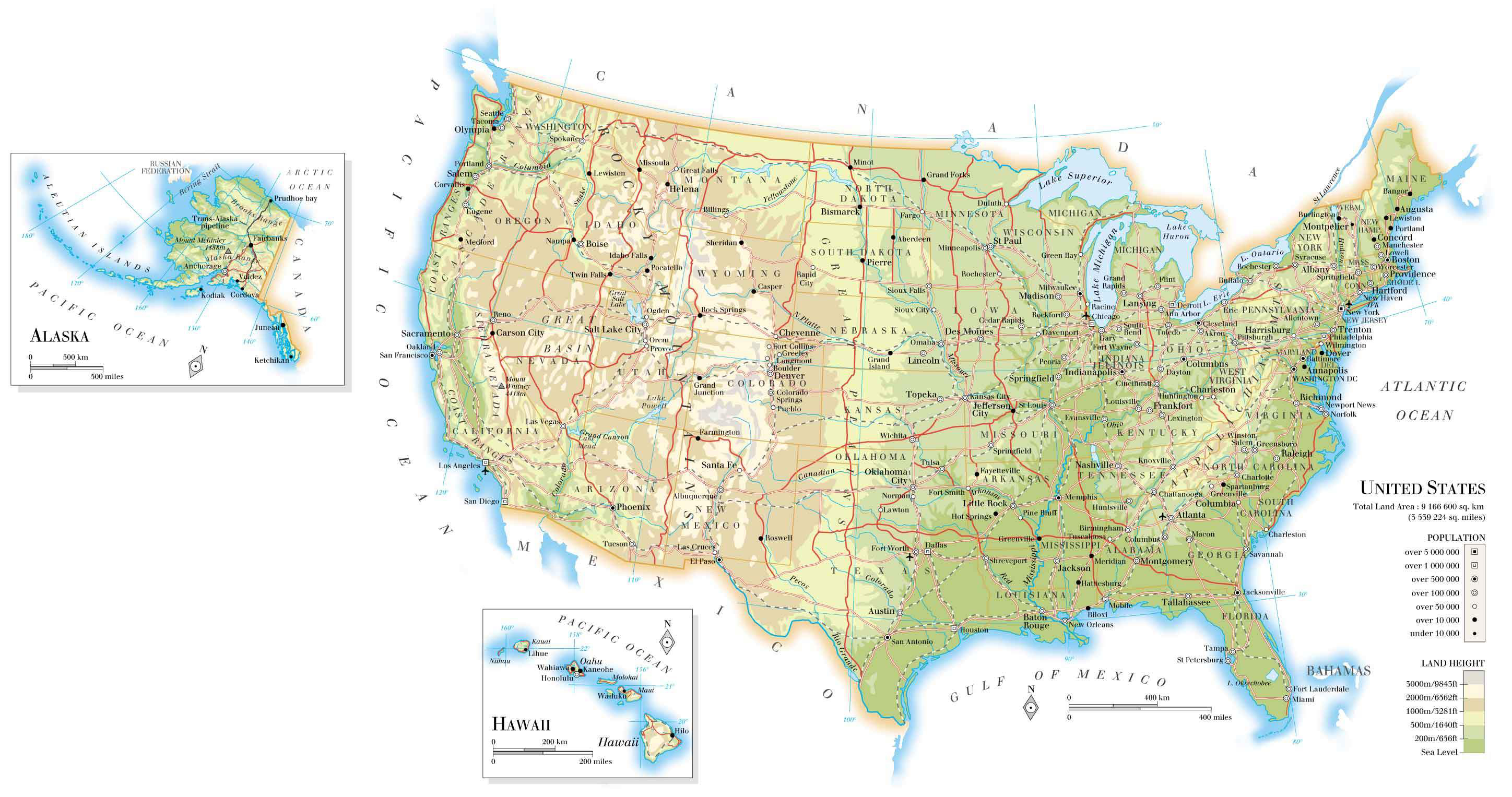 Large detailed road and relief map of the United States The – Travel Map Of The United States