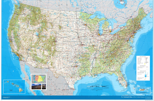 Large detailed road and topographical map of the USA.