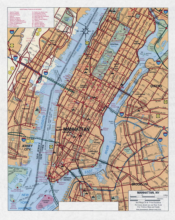 Large detailed road map of Manhattan (New York city).