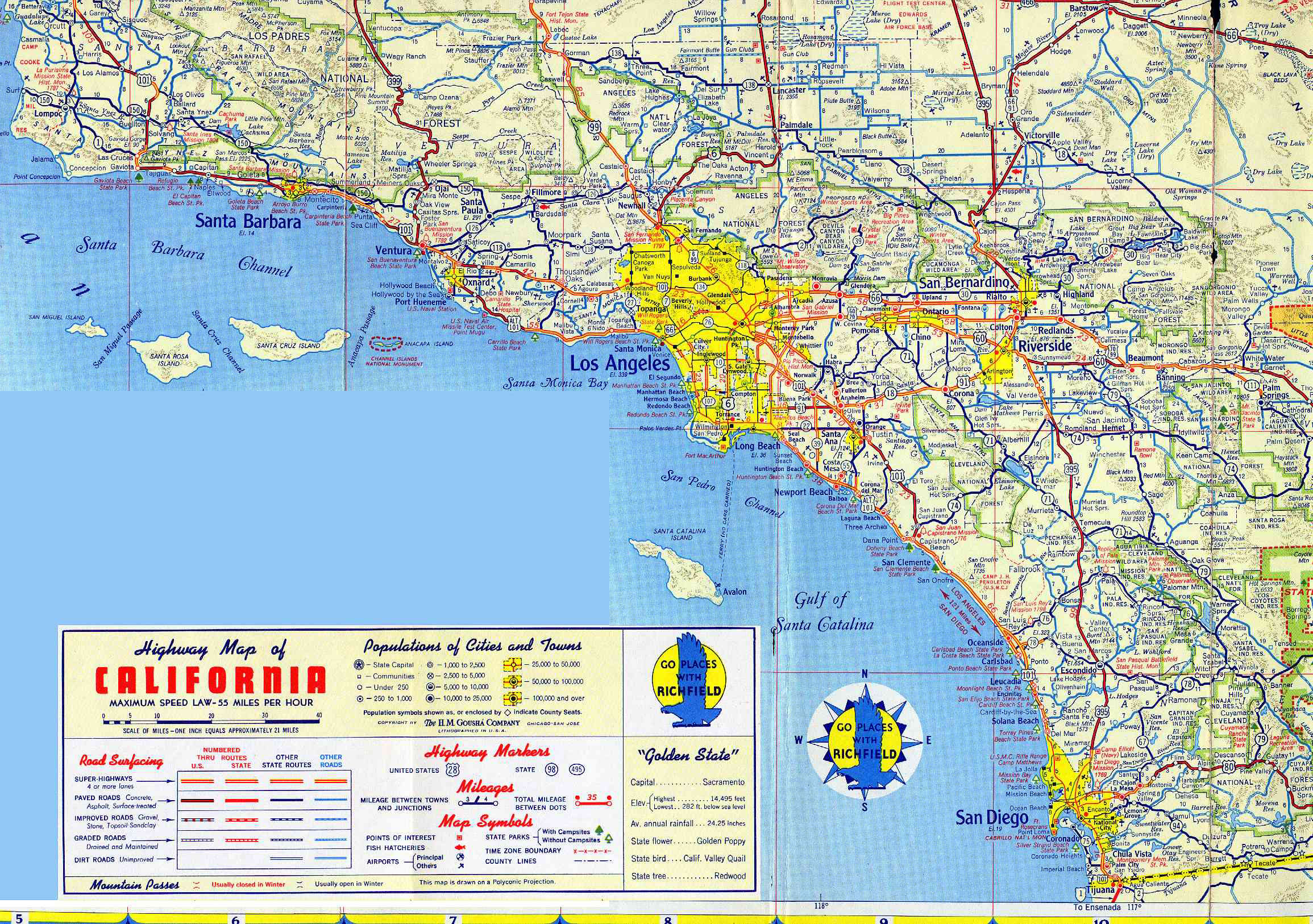 Large Detailed Road Map Of Los Angeles Region Los Angeles Region - Los angeles in map