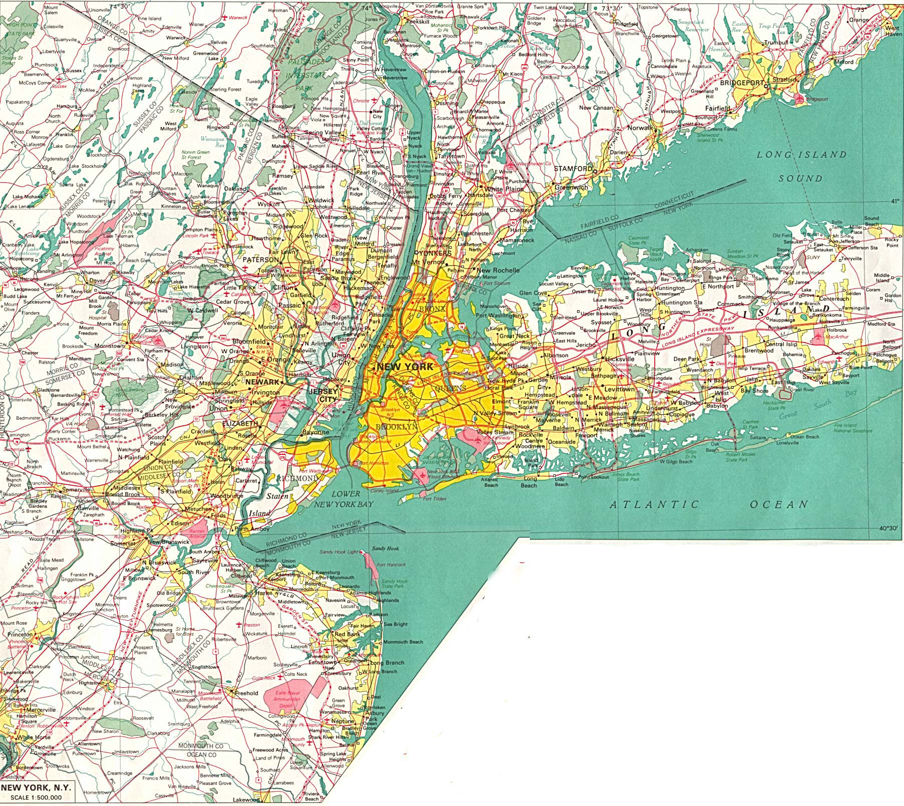 Large detailed road map of New York City and its environs New York