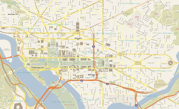 Large detailed road map of Washington D.C..