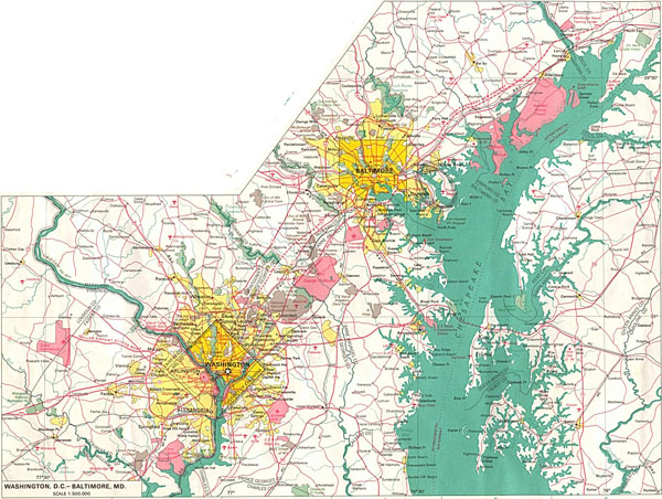 Large detailed road map of Washington D.C. and Baltimore.