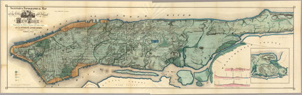 Large detailed sanitary and topographical old map of Manhattan 1865 (New York city).