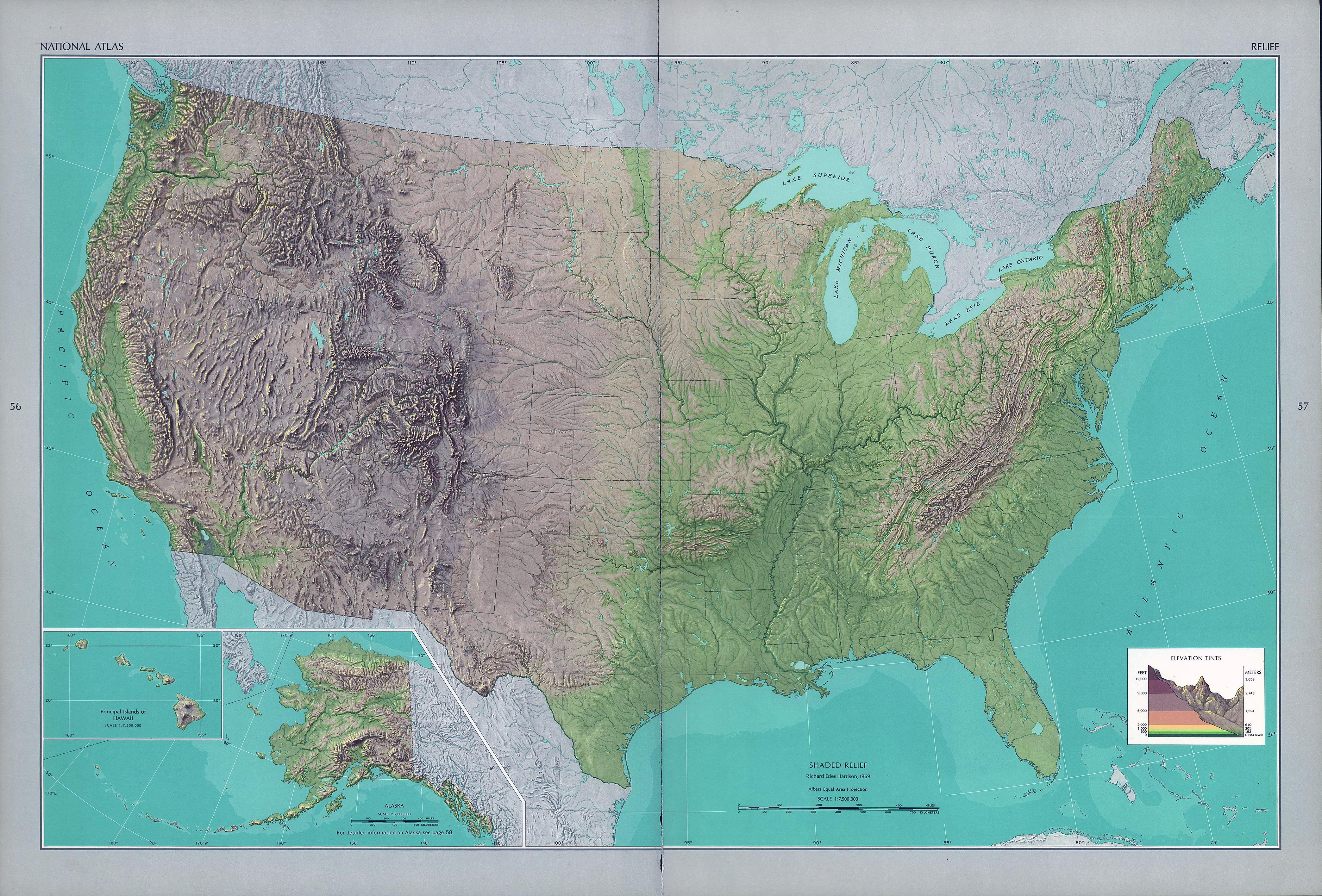 Large Detailed Shaded Relief Map Of The Usa Vidiani Com Maps Of