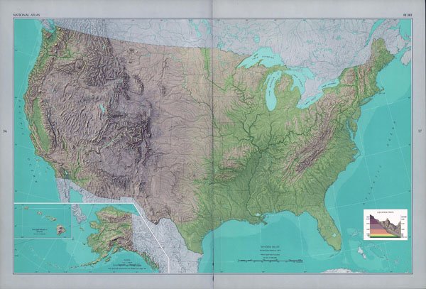 Large detailed shaded relief map of the USA.