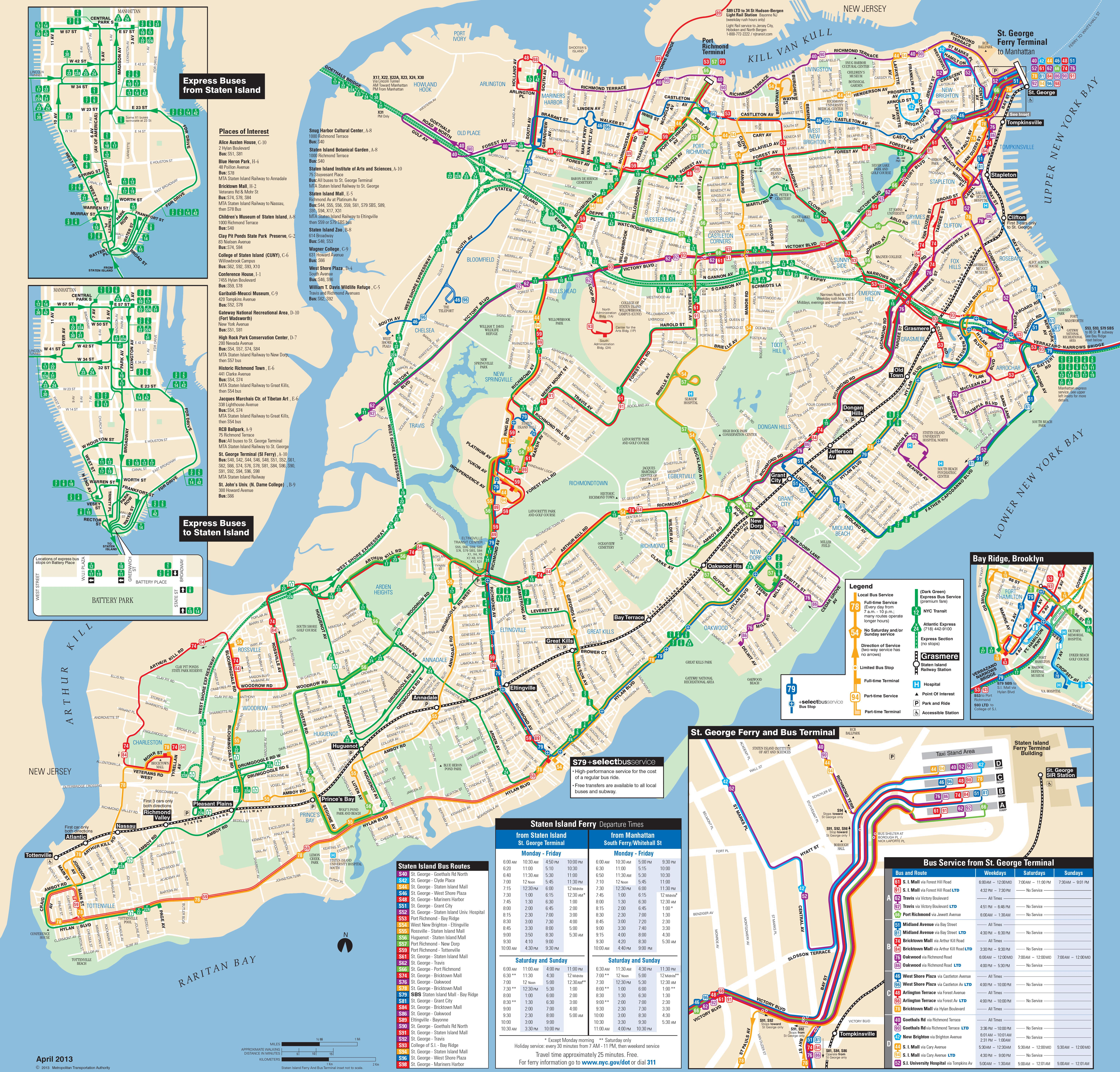 Large detailed Staten Island bus map NYC New York city Staten – Tourist Map Of New York City