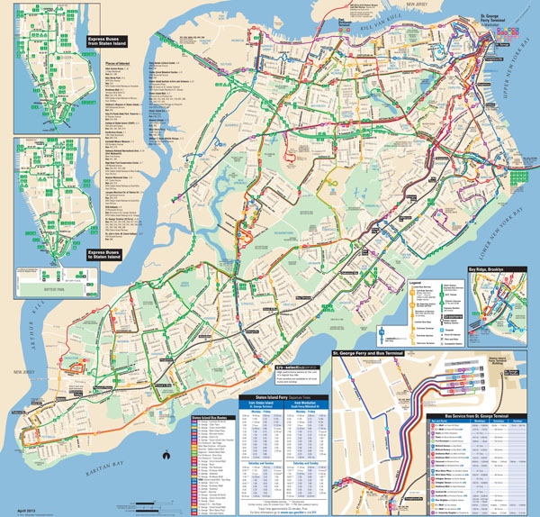 Large detailed Staten Island bus map NYC (New York city).