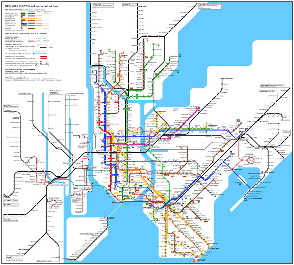 Large detailed subway map of New York City, the USA.