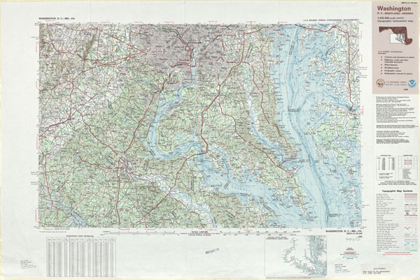 Large detailed topographic and bathymetric map of Washington D.C..